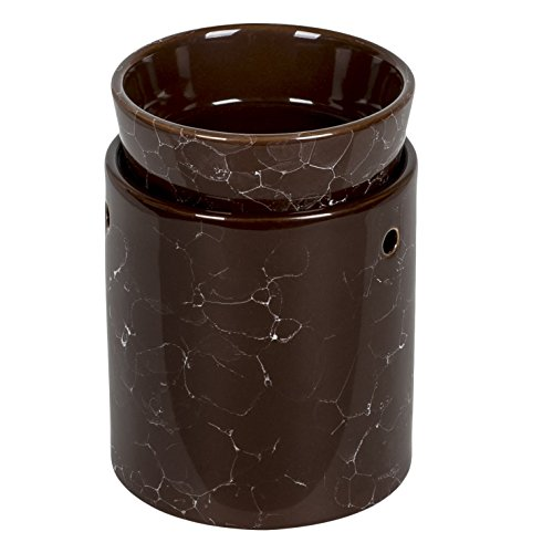 - Marble Decorative Ceramic Tart Warmer - Tall Electric Candle and Oil Warmer - Set of Dish and Burner with Easy Plug in Feature (Brown)