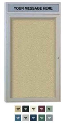Ghent 36 x 30 Inches Outdoor Satin Frame Enclosed Vinyl Bulletin Board with Headliner , Ocean , Made in the USA by Ghent
