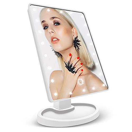 Makeup Mirror, Vanity Mirror, soled LED Makeup Mirror Lighted Mirror with Touch Screen/22 Pcs LED lights,High Definition Clarity 180