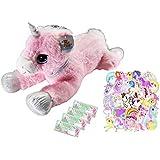 Goffa Unicorn Gift Set for Girls Age 3 and up: 1 Giant Pink Unicorn Stuffed Animal Plush Toy, 4 Packs of Unicorn Crayons and 30-Unicorn Stickers Pack for Girls' Birthdays