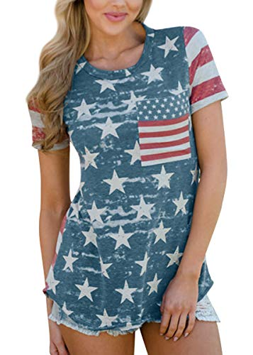 July 4th Womens Summer Short Sleeve Tunic Top Casual USA Flag Cotton T Shirt with Pocket XL - Liberty Print Blouses