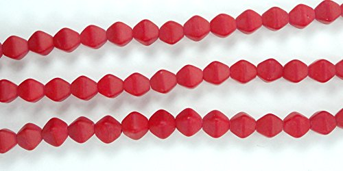 Matte Bicone - 50 Matte-Opaque Red Czech Pressed Glass Bicone Beads 6mm