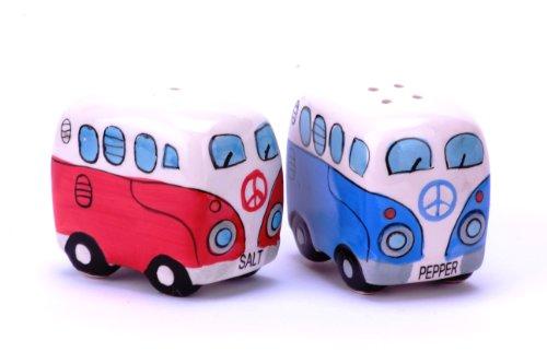 41zmFUk2vML 24-7sale Camper Bus Salzstreuer/Pfefferstreuer - aus Keramik, Farbe wählbar, im 2er Set. (Blau)