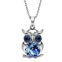Neoglory Jewelry Made with Swarovski Elements Crystal Blue Owl Pendant Necklace Rhinestone 17inches