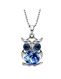 Neoglory Jewelry Made with Swarovski Elements Crystal Blue Owl Pendant Necklace Rhinestone 17inches