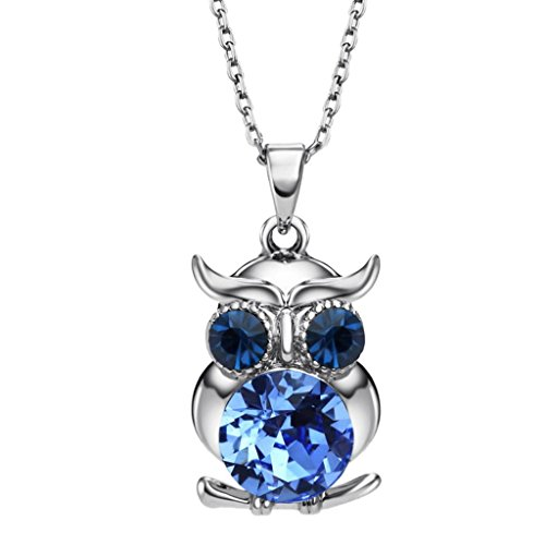 Neoglory Jewelry Vintage Owl Pendant Necklace Blue Crystal Rhinestone Necklace 17