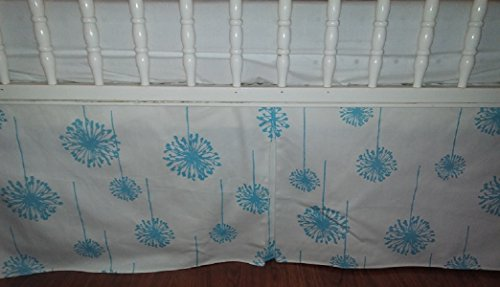 Aqua Turquoise dandelions crib Skirt Tailored, Box-Pleat Baby Crib Skirt. Animal print. White. Fits Toddler's Bed, Boy or Girl, Neutral, New, 14 inches long. Baby Nursery Decor. ()