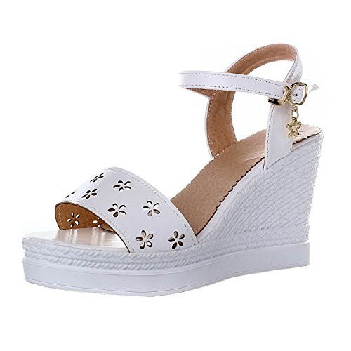 Heels Open Women's Toe Sandals Buckle VogueZone009 White High Solid Pu EXdqxw