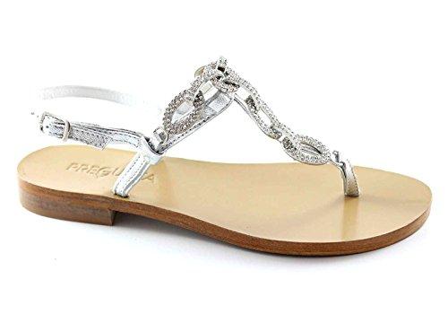 PREGUNTA IAU02 zapatos de plata las mujeres de las sandalias de la correa de cuero diamantes de imitación Grigio