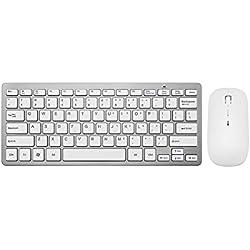 Huluwa Wireless Keyboard and Mouse Ultra-thin Mute Wireless Keyboard and Mouse Combo for Windows, Silver
