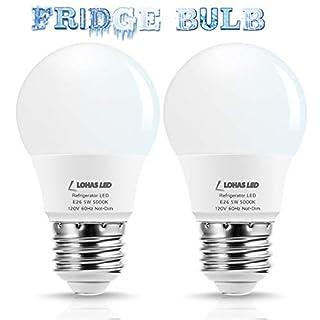 LOHAS Refrigerator Light Bulb, A15 LED Bulb 40W Equivalent Daylight Bulbs 5000K, 120V Fridge Lights 5W LED Ceiling Fans, E26 Medium Base Chandelier Light for Bathroom Home Kitchen Lighting, 2 Pack