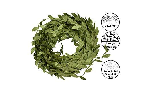 264ft Enhanced Large Leaf Trim Ribbon Green Artificial