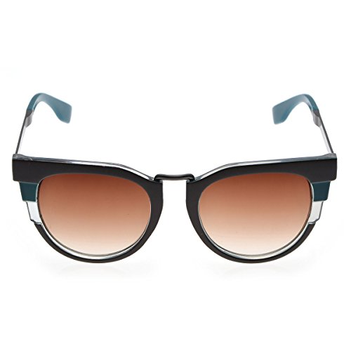 Two Tone Brown Plastic Sunglasses - Women's Retro Cateye Plastic Two Tone Fashion Sunglasses & Case|Teal/Brown