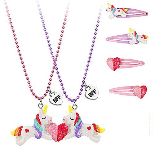 Wenhui's Wisdom Product BFF Unicorn Heart Pendant Necklaces for Children Girls Best Friends Necklaces for Kids -Friendship Necklace for 2