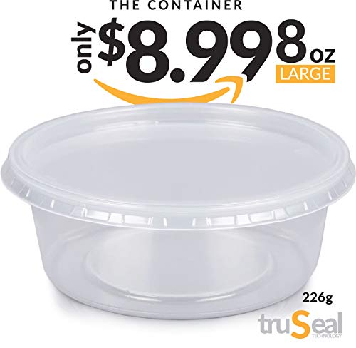 Large Slime Containers For DIY Slime with TruSeal Technology | 15 Pack of 226g, 8oz deli containers Plastic White Leakproof Clear Storage Containers with Lids | Dishwasher, Microwave & Freezer Safe