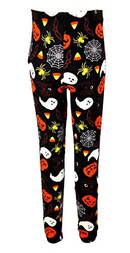 Just One Girls Halloween Leggings, Orange Pumpkin Jack-o-Lantern