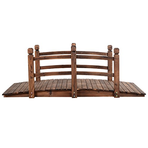5' Wooden Bridge Stained Finish Decorative Solid Wood Garden Pond Arch Walkway by Unknown (Image #2)'
