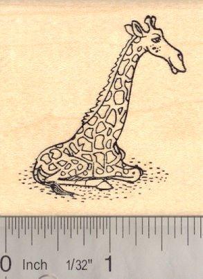 Sitting Giraffe Rubber Stamp, African Wildlife