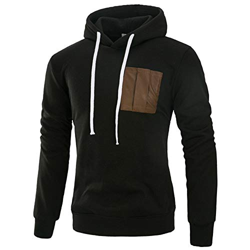 Men's Autumn Winter Pocket Drawsting Casual Splicing Hoodie Top Blouse Sweatshirt -