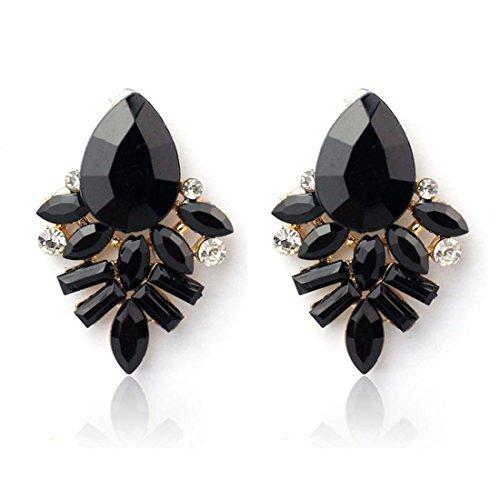 Bestpriceam Fashion Women Lady Rhinestone Crystal Drop Alloy Ear Studs Earrings (Black)