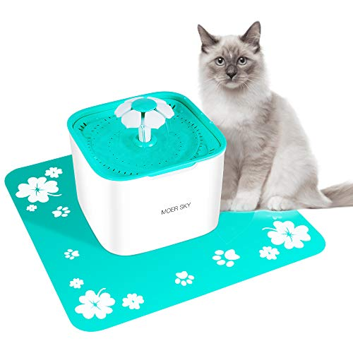 - Moer Sky Pet Fountain Cat Water Dispenser-Healthy Hygienic Drinking Fountain 2L Super Quiet Automatic Water Bowl Filter Silicone Mat Dogs, Cats, Birds Small Animals (Pet Fountain)