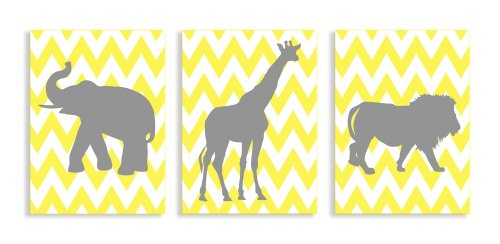 The Kids Room by Stupell Elephant, Giraffe, Lion Silhouettes in Grey On Yellow Chevron 3-Pc. Rectangle Wall Plaque Set, 11 x 0.5 x 15, Proudly Made in USA