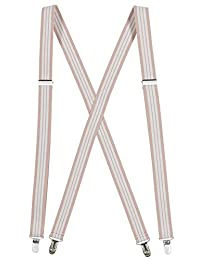 Mens Elastic X-Back Adjustable Straight Clip On Suspenders - Beige and White Striped