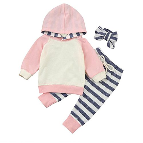 Infant Boys Girls Long Sleeve Hoodie Tops Sweatsuit Long Pants Clothes 3pcs Outfit Sets Pink 6-12 Months