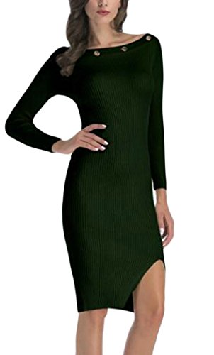 Spaccatura Mini Bodycon Womens Collo Vestito Manica Paletta Jaycargogo Lunga Verde Al wqT1Oa