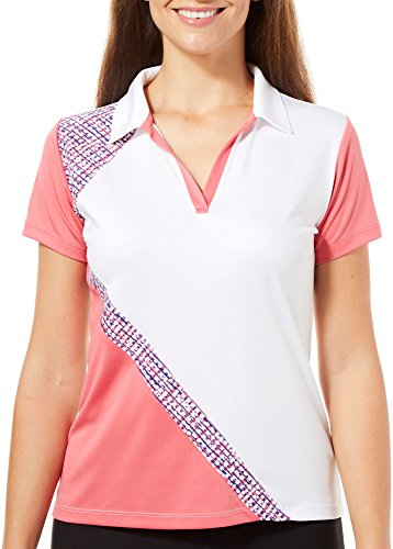 IZOD Golf Womens Pieced Polo Shirt Large White/Coral