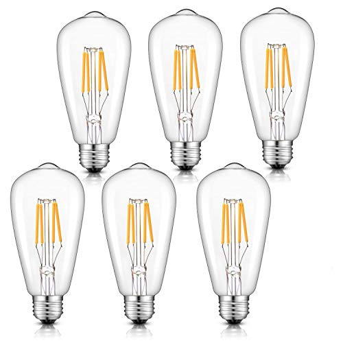 Lake Traditional Chandelier - CRLight Dimmable LED Edison Bulb 4W 2700K Warm White, 400LM 40W Incandescent Equivalent Vintage ST64 / ST21 LED Filament Bulbs, E26 Medium Base Clear Glass, Pack of 6