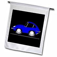 Mark Grace CARTOON CAR PATTERNS jag e-type - goofy cartoon jag, blue on black - 18 x 27 inch Garden Flag (fl_81045_2)