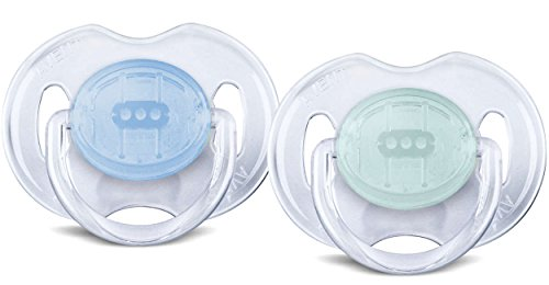Philips AVENT BPA Free Translucent Orthodontic Infant Pacifier, 0-6 Months, Green/Blue, 2 Pack (Pacifier Clear Newborn Translucent)