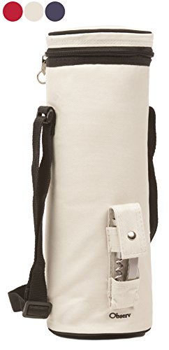 Observ Insulated Wine Tote Bag, Pearl White - Wine Bottle Carrier with Bottle Opener (1 Cooler Wine Bottle)