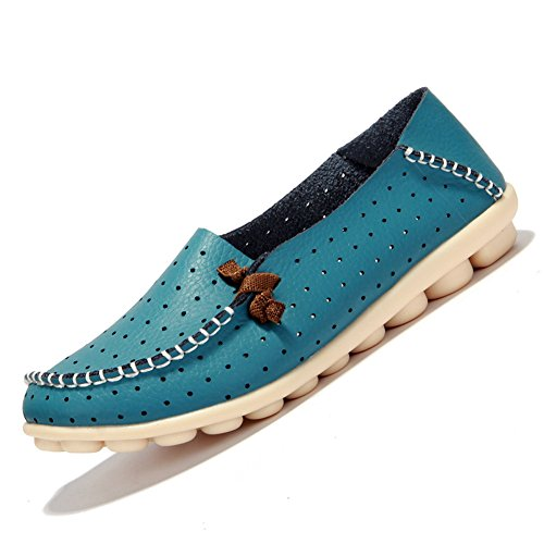 SCIEU Women's Leather Slip-On Loafers Driving Moccasins Casual Flat Shoes Blue 2 2zF9CG6