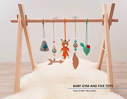Tribal Baby Play Gym with 5 Mobiles: Fox, Cacti, Mountain, Feather, Arrow. Handmade in Eastern Europe by LanaCrocheting. Foldable Wood Gym Frame, Activity Center Newborn Gift, Native American. Boho -