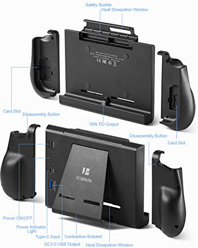 10000mAh Battery Charger Case for Switch, YOBWIN Portable Backup Charger Station Console with a Pair of Joy-Con Grip… 6
