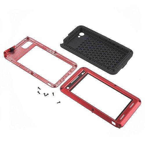 Xperia Z5 caja compacta, aluminio armadura cristal plàstico impermeable anti-smudge resistente al agua resistente cubierta resistente al para Sony Xperia Z5 Compact E5823 (negro), compatible con Sony  rosso