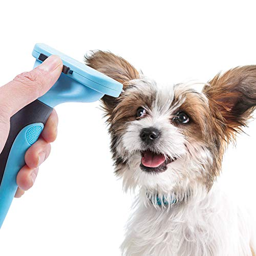 CROWNY Pet Grooming Brush, with Stainless Steel Trimming Blade Self Cleaning Comb, Effectively Reduces Pet Hair Shedding Professional Undercoat Deshedding Tool, for Small, Medium and Large Pets