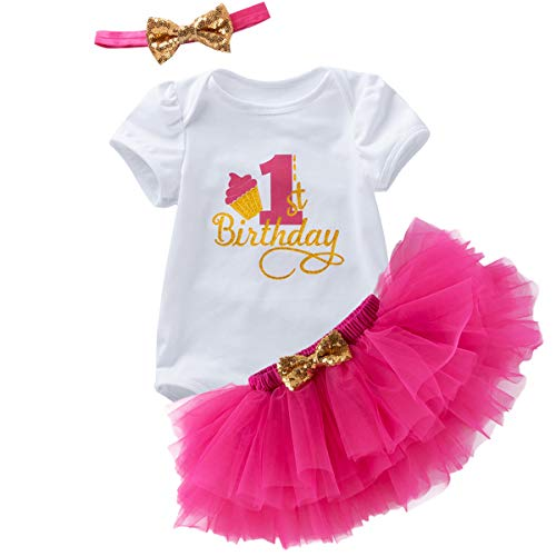 Baby Girl Cake Smash Outfits 1st Birthday Playsuit Tutu Skirt Elastic Sequinned Headwear 3PCS Set Celebration Pagant Party Holiday Formal Event Hot Pink 1st Birthday 12-18 Months]()