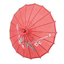 """SODIAL(R) Flower Print Red Cloth Bamboo 21"""" Dia Chinese Oriental Umbrella Parasol"""