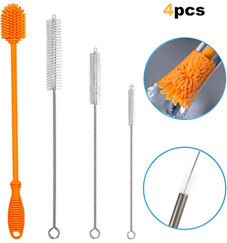 (Ponnex Silicone Water Bottle Brush Cleaner with Straw Cleaning Brush Set - For Bottles and Reusable Straws, Metal Straws, Hydro Flask, Stainless Steel Straws, Narrow Neck Containers, etc.)