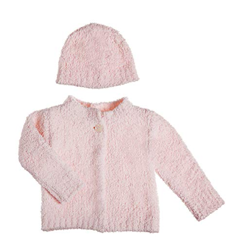 B. Boutique Vie Luxe Pink Chenille Baby Cardigan and Hat Set, Size 0-12 - Girl Chenille Boutique Baby