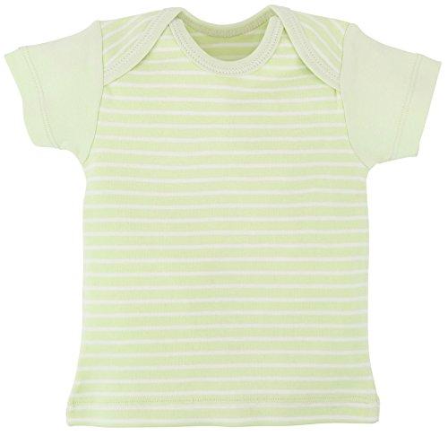 Under the Nile Baby Short Sleeve Lap Shoulder T-Shirt Stripe Organic Cotton (Sage Stripe, 6-9 Months)