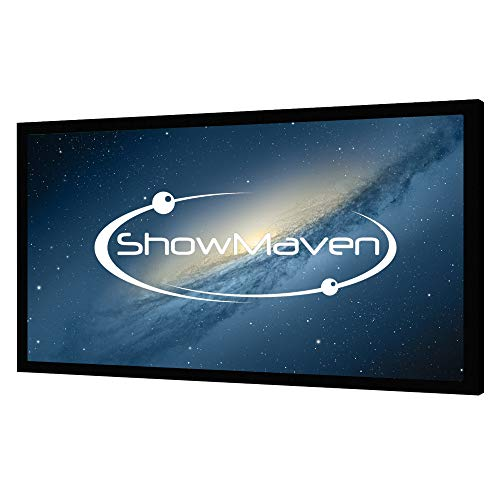 ShowMaven 120 inch Fixed Frame Projector Screen, Diagonal 16:9, Active 3D 4K Ultra HD Projector Screen for Home Theater or...