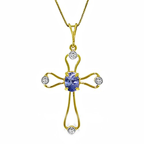 Tanzanite Cross Necklace (14k Solid White Rose Yellow Gold Necklace with Tanzanite Cross Pendant 4090 (yellow-gold, 24))