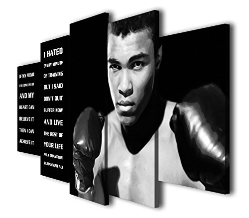 Susu Art - 5 Pcs Muhammad Ali Quote Canvas Giclee Print Painting Picture Wall Art Home Decor Gifts (with Frame, Size 3: 12x20inx2pcs, 12x28inx2pcs, 12x32inx1pc)