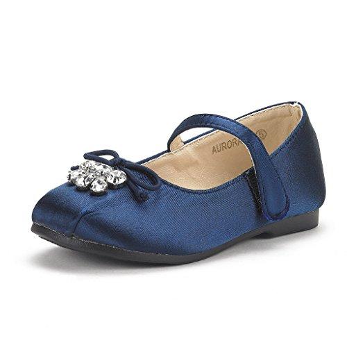 DREAM PAIRS Little Kid Aurora-02 Navy Satin Girl's Mary Jane Ballerina Flat Shoes Size 2 M US Little -