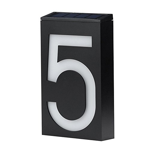 Niceshop Solar Door Numbers Solar Digital Door Light Solar Powered Door Plate House Number Sign 6 LED Garden Wall Lights Outdoor Waterproof Power Sensor Solar for Patio Path House Hotel (Number 5) by Niceshop