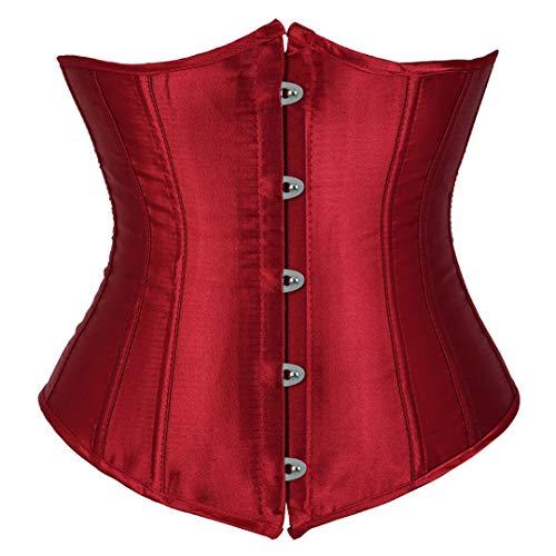 - Kranchungel Women's Vintage Underbust Corset Bustier Waist Cincher Bodyshaper Small Wine Red